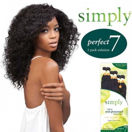 Outre Simply Non-Processed Brazilian Human Hair Weave Perfect 7 Natural Curly 7Pcs